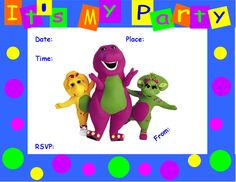 FREE Barney Birthday Party Invitation
