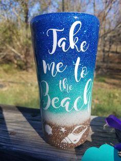 Glitter Yeti, BEACH FADE OCEAN,Beach, Mermaid cup, ocean, custom glitter, Gifts for her, vacation tumbler