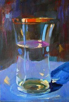 GLASS OF WATER...HALF FULL OR HALF EMPTY? painting by artist Elizabeth Blaylock