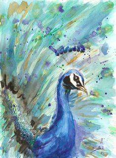 Peacock painting peacock art farm nursery art zoo by SignedSweet, $12.00