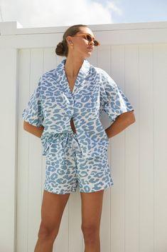 Sleepwear Women, Pajamas Women, Easy Model, Short Kimono, Sleep Set, Marine Blue, Nautical Fashion, Size Model, Marni