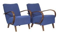 Pair of Czech Art Deco 1930's Armchairs by Jindrich Halabala
