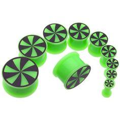 Pair Green Silicone Flesh Saddle Ear Plugs 1/2 Gauges, 12.7mm