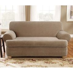 sure fit stretch stripe 2piece tcushion sofa slipcover by sure fit sofa slipcovers and products