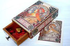 Jewelry Box Mucha Zodiac Valentine's Wooden by ArtKaleydoskop2015