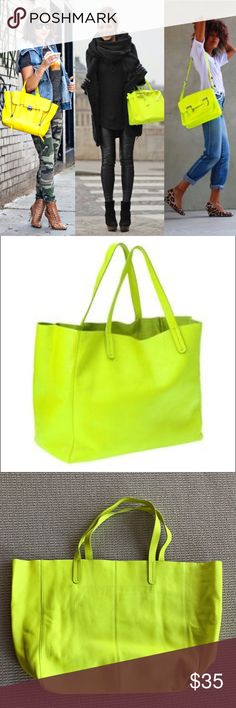 GAP Neon Yellow Leather Tote Bag Neon yellow leather tote bag by GAP.  In good condition. Some signs of wear at the bottom that are show in the photo. This bag expands to hold a lot! Interior of bag is clean and has a zip pocket. Great for a travel bag or carry on -- or even a baby bag. The first photo shows different ways a neon yellow bag can be styled :-) GAP Bags Totes