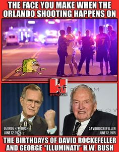 OrlandoShooting happened on David Rockefeller and George H.W. Bush's birthday. Oh #Bilderberg also