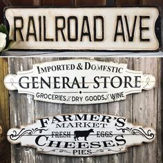 WE LOVE #SIGNAGE!⠀ Double your fun with these #generalstore  and #farmersmarket  #Signs, Set of 2. Like old time signs, these two #rusticwoodsigns look like they advertised for the old general store and the local farmer's market. Simple black and rustic white in color, with a decorative shape, the signs coordinate for some dynamic vintage inspired signage. ⠀ Everyone loves the #railroad and this #metalsign expresses that love in a unique fashion. This rustic #railroadave  #streetsign  is…