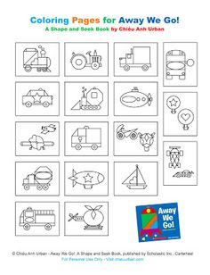 Free Shapes and Transportation Coloring Pages for children's book, Away We Go! by Chiêu Anh Urban