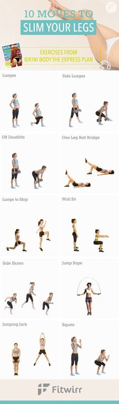 10 Leg Exercises for Sleeker and Slimmer Thighs. Lose your thigh fat and get bikini worthy legs in 4 weeks or less. -losethighfat -legexercises -bikinibody