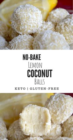 No-Bake Lemon Coconut Balls.These are so sweet and refreshing! No-Bake Lemon Coconut Balls.These are so sweet and refreshing! Keto Fat, Lchf, Keto Desserts, Dessert Recipes, Coconut Flour Desserts, Coconut Cookies, Diabetic Deserts, Almond Flour Cookies, Health Desserts