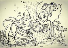 Eggy la Sirene Méduse #loupclier #dessin #dessins #crayon #drawing #drawings #art #ink #sirene #meduse #fish #singer #chanteuse #souslocean #bernardlhermite #tentacules #tentacles #Eggy
