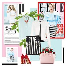 """""""Emily VanCamp - Elle Canada"""" by redflowergirl ❤ liked on Polyvore featuring Jil Sander Navy, Topshop, Balmain, Givenchy, Charlotte Olympia and Anton Heunis"""