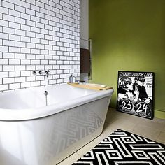 Lovely colours and tiles. I have a very similar colour for my bathroom sitting in tins at home. I need to get painting!