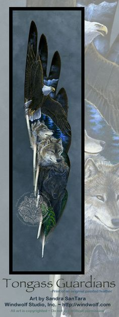 Tongass Guardians~Art by Sandra SanTara~Originally painted in acrylic on a goose feather fan~prints available on the web site: http://windwolf.com/WWWolvesKin.html