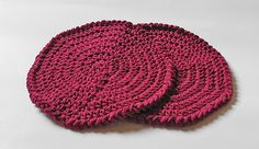 Set of 2 Off Burgundy Red Round Crochet Kitchen Dishcloths $10.00 FREE SHIPPING! Designed by Robin Harley