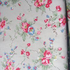 Little Jaquard Rose Black Cotton Duck Fabric Cath Kidston1 M X 144cm