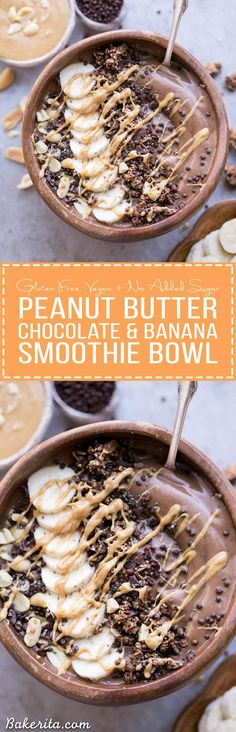 This Chocolate Peanut Butter Banana Smoothie Bowl tastes like a peanut butter cup, but it's actually a filling, superfood-packed breakfast that comes together in just 5 minutes! This gluten-free   vegan smoothie bowl is the perfect way to start the day.
