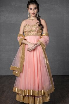 Net two layer kurta churidar embellished with stone and gold thread work
