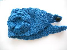 Crochet Headband Earwarmer in sapphire blue by needlepointnmore, $12.00