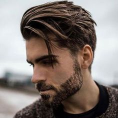 Side Swept Hair + Classic Tapered Sides + Groomed Beard