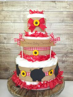 """BBQ-themed diaper cake for a """"BabyQ"""" Couples Baby Shower   #CouplesShower #CouplesBabyShower"""