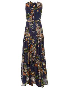 MSGM Abstract floral-print silk-georgette maxi dress