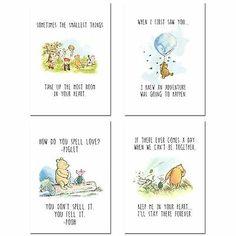 Winnie The Pooh Classic Art Prints - Set of 4 Wall Art Decor Photos Nursery Bedroom Playroom inches x 7 inches) Winnie The Pooh Nursery, Winne The Pooh, Bear Nursery, Winnie The Pooh Quotes, Winnie The Pooh Decor, Winnie The Pooh Friends, Babies Nursery, Winnie The Pooh Classic, Vintage Winnie The Pooh