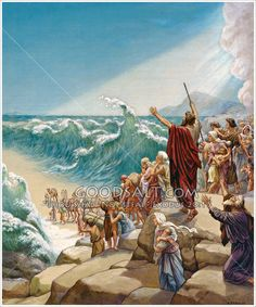 Moses parting the sea with crowds of people ready to pass through. Exodus 14