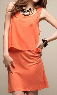 Korean fashion vest dress0438 Orange
