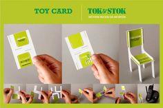 O cartão da Tok Stok, loja que vende móveis e utensílios para a casa, pode ser montado e se transformar em uma cadeira! #CartoesDeVisita #Branding #Business #Card #Criatividade #TudoMKT #TudoMarketing