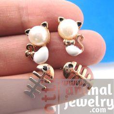 Pearl Kitty Cat and Fish Bone Animal Stud Earring 4 Piece Set | atti - Jewelry on ArtFire