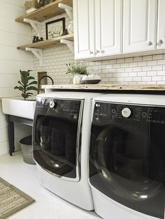 These LG appliances were the icing on the cake in this whole room laundry room remodel.   Courtesy of Lowes and LG.   Love them
