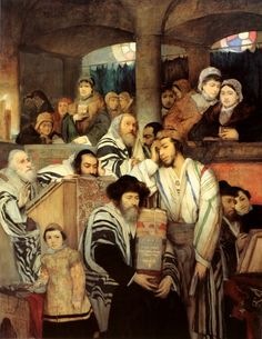 "Maurycy Gottlieb ""Synagogue on Yom Kippur"" Poland, 1878. Gottlieb reportedly used members of his own family as models for this painting"