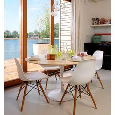 mesa de jantar tulipa saarinen tampo em madeira oval 180x100
