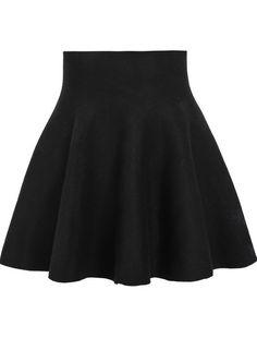 Black High Waist Ruffle Skirt