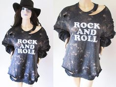 Rockn Roll Starry sky Bleached Distressed Destroyed