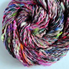 Handspun Yarn Multicolored Textured Art Yarn 102 Yards