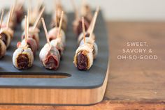 Bacon Wrapped Dates Stuffed With Asiago Cheese