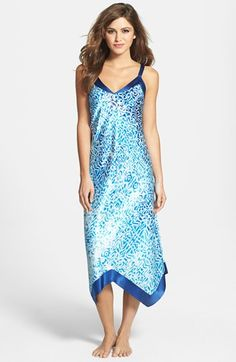 Oscar de la Renta Sleepwear  Ocean Breeze  Satin Charmeuse Nightgown  331476455