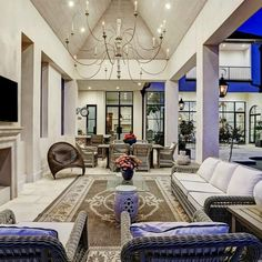 Luxurious loggia at a French country Houston home by Thomas O'Neill Homes. #loggia #luxuryhome #luxuryhomedesign