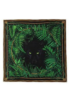Versace Panther Print Scarf in black/green. A mysterious panther with piercing green eyes is printed onto this black silk Versace scarf.  The unisex accessory is bordered with green leaves and golden chain print.