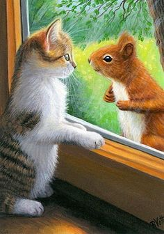 Ohoo my very what sweetheart kittens and squirrel I love this picture kittens squirrel ❤❤ Animals And Pets, Baby Animals, Funny Animals, Cute Animals, I Love Cats, Crazy Cats, Cute Cats, Image Chat, Cat Drawing
