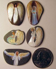 Cape Cod Artist Painted Small Rock 5 Pocket Angels for Blessings and Good Luck