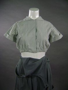 Vintage Edwardian factory uniform blouse/ s / 1910s steampunk sky pirate short sleeve top