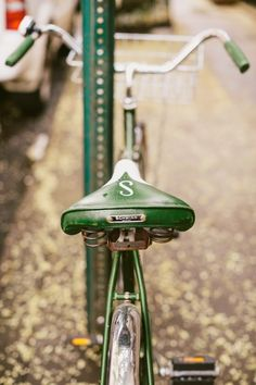 "S is for Schwinn Seats. -- Shown: ""That classic Chicago Schwinn S logo"" from ""Obsessed with: Vintage Chicago Schwinns"" Velo Vintage, Vintage Bicycles, Cup Of Jo, Cycle Chic, Old Bikes, Vintage Green, Shades Of Green, Cool Stuff, Schwinn Bikes"