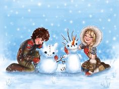 Astrid and Hiccup making snow dragons. My favorite is the Toothless one Hiccup made. Dreamworks Dragons, Dreamworks Animation, Disney And Dreamworks, Hiccup And Toothless, Hiccup And Astrid, Httyd 3, Snow Dragon, Dragon Art, Ghibli