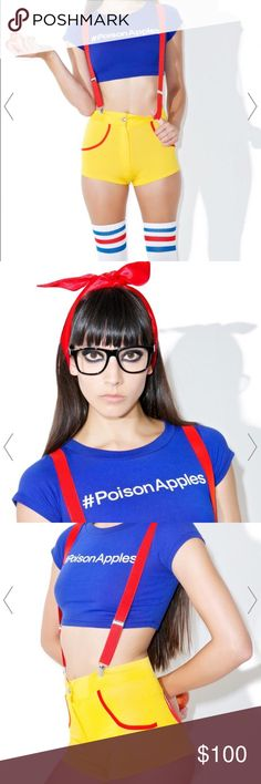 """""""Snow Whut?"""" Costume! Brand New. Dollz Kill Snow Whut? Halloween Costume! Size xs! Include's #Poison Apples Crop Top, Apple Booty Shorty, Suspenders and Glasses! This costume is amazing.💯 SOLD OUT ONLINE! Tops Blouses"""