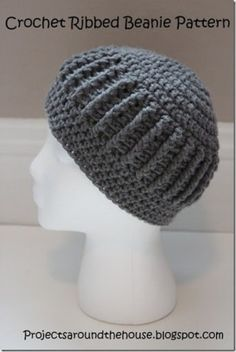 Free Pattern Projects Around the House: Crochet Ribbed Beanie Pattern Crochet Adult Hat, Bonnet Crochet, Bag Crochet, Mode Crochet, Crochet Cap, Crochet Beanie, Crochet Scarves, Crochet Crafts, Crochet Clothes