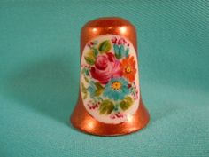 Thimble porcelain handpainted with Bouquet of Flowers by EgiArt, $5.00